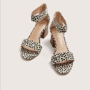 AdditionElle Wide Ankle Strap Cheetah Print Sandal